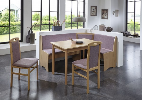 Truhen-Eckbankgruppe, Buche Natur Dekor; Eckbank, 2 Stühle und Vierfußtisch; Bezug: Flachgewebe rosa; variabel aufbaubar